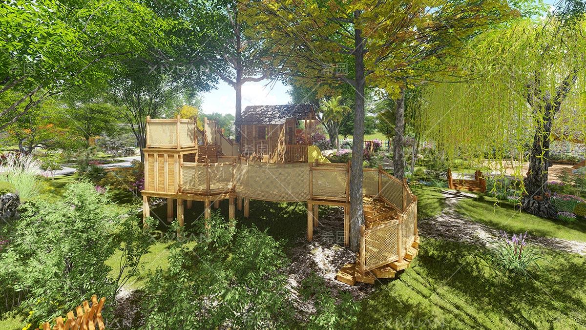 幼儿园天然木材滑梯